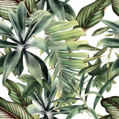 Sticker Seamless floral pattern with tropical piants, watercolor.