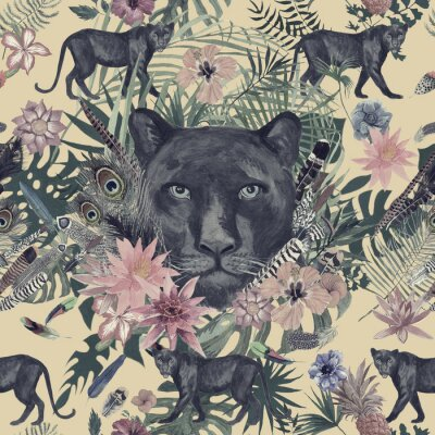 Sticker Seamless hand drawn watercolor pattern with panther, flowers, feathers, flowers.