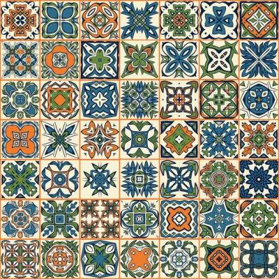 Sticker Seamless patchwork pattern, tiles, ornaments
