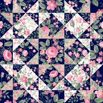 Sticker seamless patchwork pattern with roses