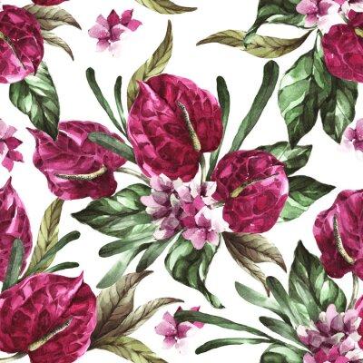 Sticker seamless pattern burgundy flowers