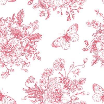 Sticker Seamless  pattern  flowers and butterflies.