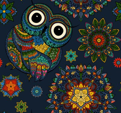 Sticker Seamless pattern from ornamental color owl with flowers and mandala. African, indian, totem, tattoo design. It may be used for design of a t-shirt, bag, postcard, a poster and so on.