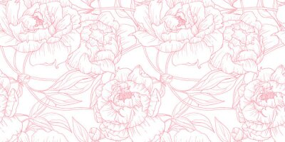 Sticker Seamless pattern, hand drawn outline pink Peony flowers on white background