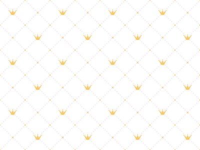 Sticker  Seamless pattern in retro style with a  gold crown and pink polka dots on white background. Cute wallpaper for little princesses.