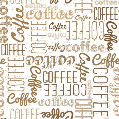 Sticker Seamless pattern of coffee words. Dark light inscriptions on a white background. Coffee colors Chaotically scattered words of different fonts