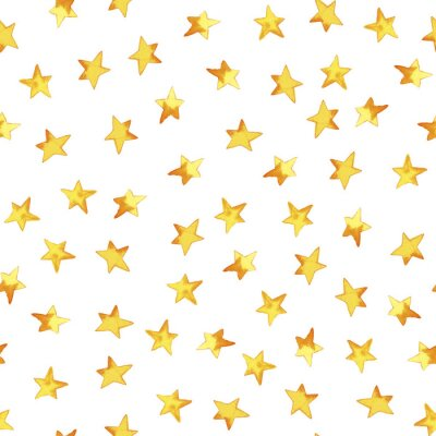 Sticker Seamless pattern of hand drawing yellow simple stars in cartoon childish stile on white background
