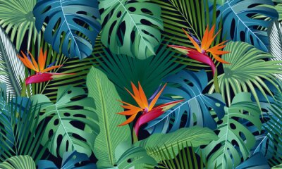 Sticker Seamless pattern tropical leaves with bird of paradise on black background