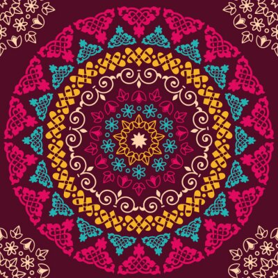Sticker Seamless pattern. Vintage decorative elements