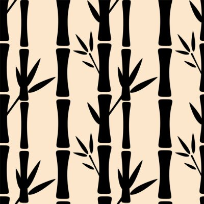 Sticker Seamless pattern with black silhouettes bamboo trees