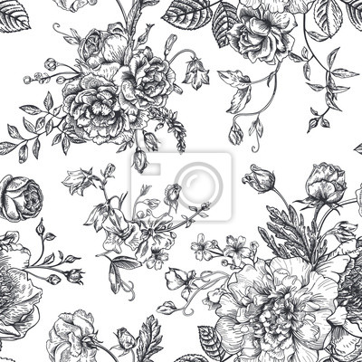 Sticker Seamless  pattern with bouquet of  flowers.