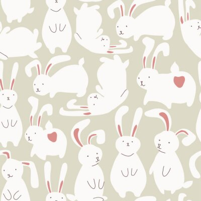 Sticker Seamless pattern with cute white rabbits