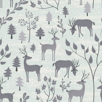 Sticker Seamless pattern with deer in winter forest
