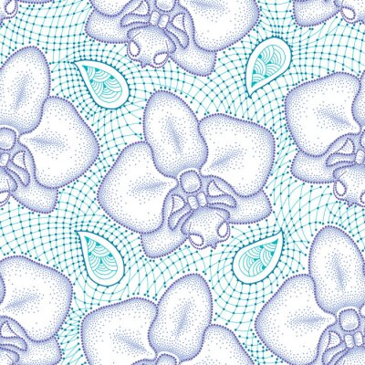 Sticker Seamless pattern with dotted moth Orchid or Phalaenopsis in violet and turquoise decorative lace on the white background. Floral background in dotwork style.