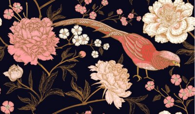 Sticker Seamless pattern with exotic bird pheasants and peony flowers.