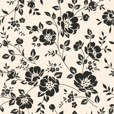 Sticker Seamless pattern with flowers.