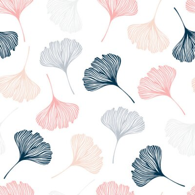 Sticker Seamless pattern with ginkgo leaves.