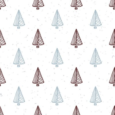 Sticker Seamless pattern with hand drawn christmas tree. Doodle holiday background