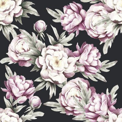 Sticker Seamless pattern with peonies. Hand draw watercolor illustration.