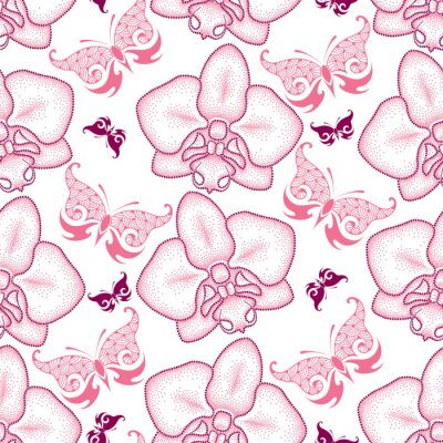 Sticker Seamless pattern with pink dotted moth Orchid or Phalaenopsis and ornate butterflies on the white background. Floral background in dotwork style.