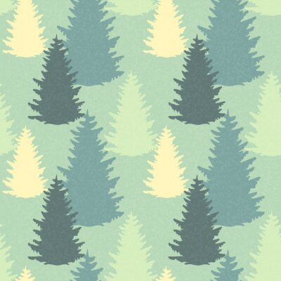 Sticker Seamless pattern with spruce trees