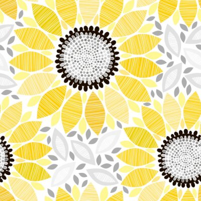 Sticker Seamless pattern with sunflowers. Abstract floral background.