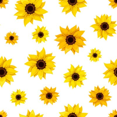 Sticker Seamless pattern with sunflowers. Vector illustration.
