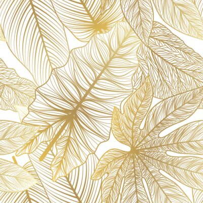 Sticker Seamless pattern with tropical leaf palm . Vector illustration.