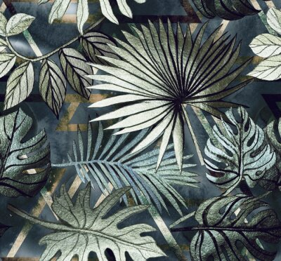 Sticker Seamless pattern with tropical leaves and  geometric shapes. Tropical  background.