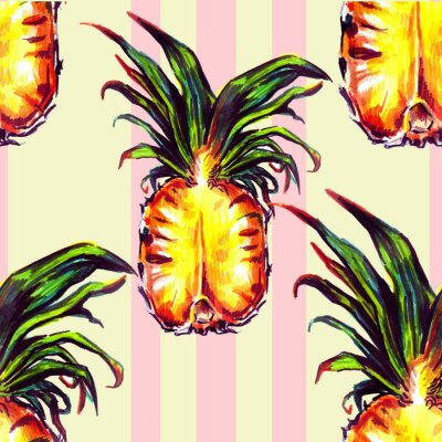 Sticker Seamless pattern with tropical plants and fruit