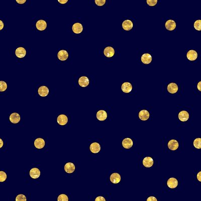 Sticker Seamless polka dot golden pattern.