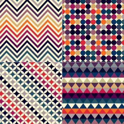Sticker seamless retro vector pattern