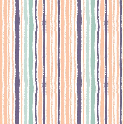 Sticker Seamless striped pattern. Vertical narrow lines. Torn paper, shred edge texture. Orange, blue, white light soft colored background. Vector