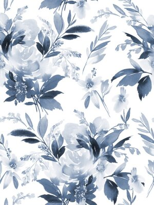Sticker Seamless summer pattern with watercolor flowers handmade.