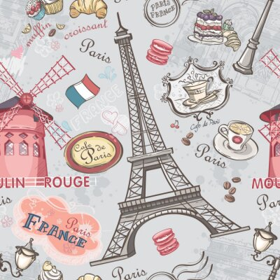 Sticker Seamless texture with the image of the sights of Paris