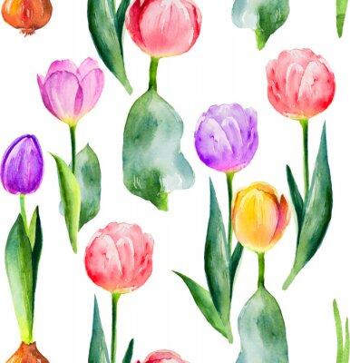 Sticker seamless tulip pattern on white background