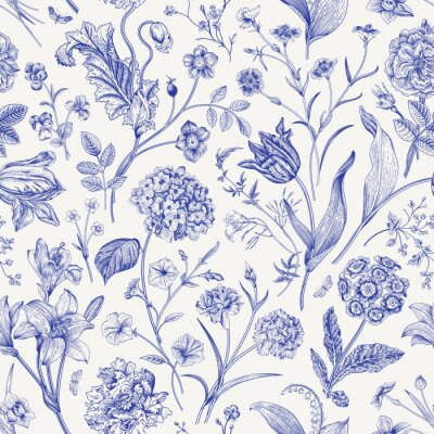 Sticker Seamless vector floral pattern. Classic illustration. Toile de Jouy