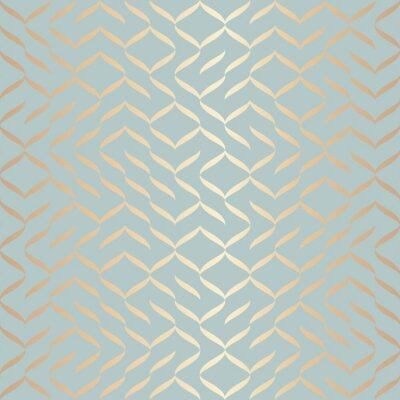 Sticker Seamless vector geometric golden element pattern. Abstract background copper texture on blue green. Simple minimalistic graphic print. Modern turquoise trellis grid. Trendy wrapping paper design.