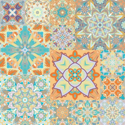 Sticker Seamless vector pattern. Patchwork. in arabic style. Abstract illustration.