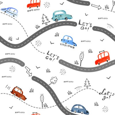 Sticker Seamless vector pattern with small cars and road signs on white background