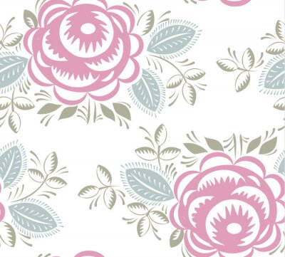 Sticker Seamless vintage roses pattern