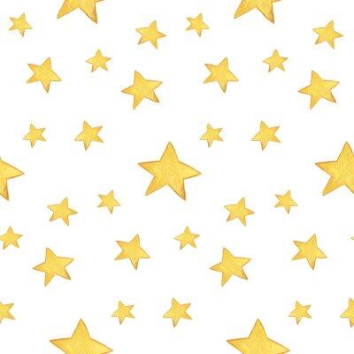 Sticker Seamless watercolor pattern: Merry Christmas, yellow stars