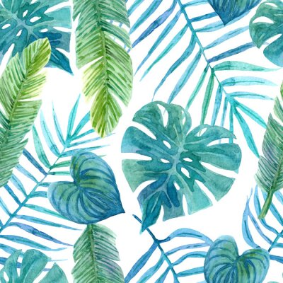 Sticker Seamless watercolor pattern of tropical leaves