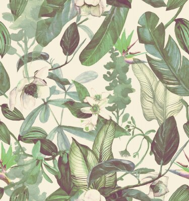 Sticker Seamless watercolor pattern with tropical flowers, magnolia, orange flower, vanilla orchid, tropical leaves, banana leaves