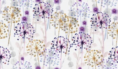 Sticker Seamless Watercolor wild floral pattern in hand painting style , delicate flower wallpaper