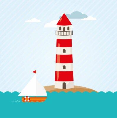 Sticker Segelboot auf Meer vor Leuchtturm Vektor