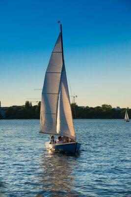 Sticker Segelboot, blaue Stunde