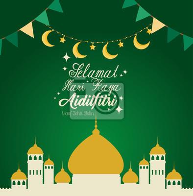 Sticker selamat hari raya aidilfitri vector illustration design