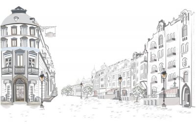 Sticker Series of street views in the old city. Hand drawn vector architectural background with historic buildings.