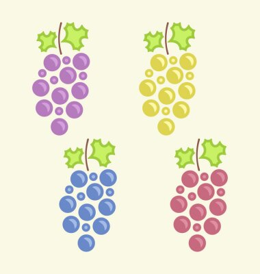 Sticker Set Colorful Bunches of Grape
